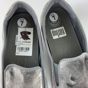 Fitflop Shoes - FitFlop Superskate Slip On Shoes Gray Velvet 7